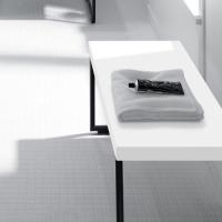 Burgbad Coco Скамья 70 см, цвет черный , цвет верха белый глянц