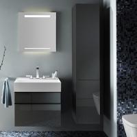 Burgbad Yumo Шкаф подвесной высокий 350х320х1760 мм, цвет серый